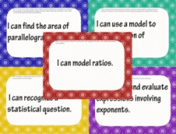 6th Grade Common Core Math I CAN statement posters (109 pages!) Polka Dot Theme