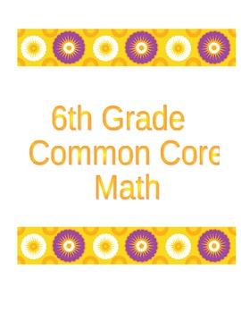 6th Grade Common Core Math Mastery Sheets