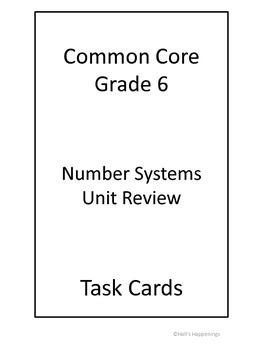 6th Grade Common Core Math Number Systems Review Task Cards