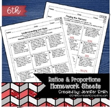 Sixth Grade Math Homework Sheets- Ratio & Proportional Relationships