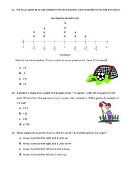 6th Grade Common Core Math Pre-Assessment