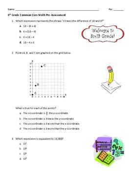 6th Grade Common Core Math Pre-Assessment