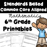 6th Grade Math Review Printables All Standards (Common Core Aligned)