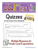 6th Grade Common Core Math Quizzes - All Standards - Distance Learning