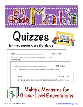 6th Grade Common Core Math Quizzes - All Standards