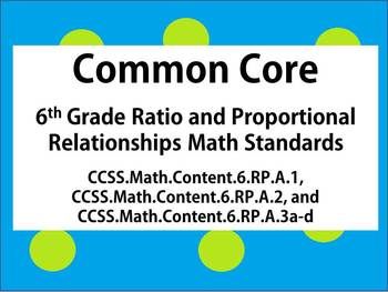 6th Grade Common Core Math - Ratios and Proportional Relationships