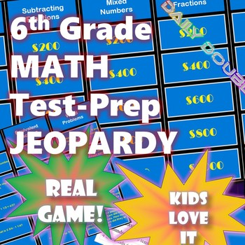 ✨6th Grade Common Core Math - Test Prep Jeopardy (CAASPP, Smarter Balanced)✨