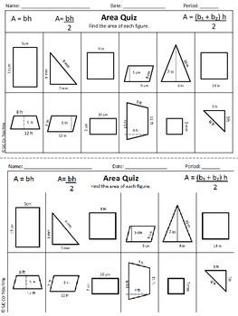 6th Grade Common Core Math Unit 5 Area Quiz