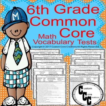 6th Grade Common Core Math Vocabulary Tests
