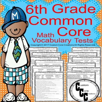 6th Grade Common Core Math Vocabulary Tests