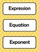 6th Grade Common Core Math Vocabulary Word Cards