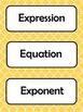 6th Grade Common Core Math Vocabulary Word Cards