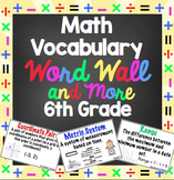 Math Word Wall - 6th Grade