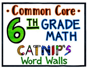 6th Grade Common Core Math Word Wall