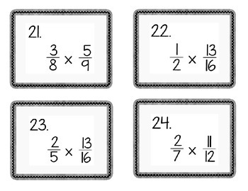 6th Grade Common Core Multiplying Fractions and Mixed Numbers Task Cards  6.NS.1