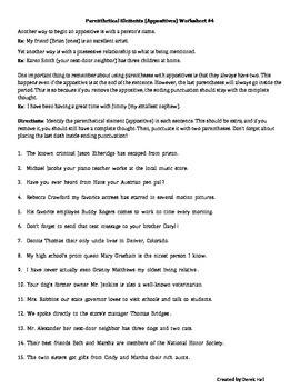 6th Grade Common Core Parenthetical Elements Bundle #1 (Appositives)