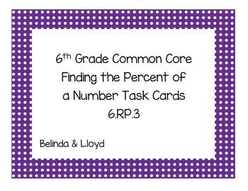 6th Grade Common Core Percent Task Cards 6.RP.3