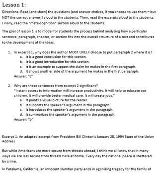 6th Grade Common Core Practice - RI.6.5 - 3 mini-lessons