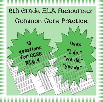 6th Grade Common Core Practice - RI.6.4 - 3 mini-lessons