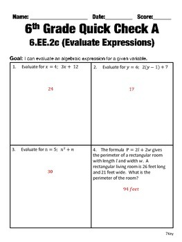 6th Grade Math Common Core Quick Check Mini Assessments (6.EE.1 - 6.EE.4)