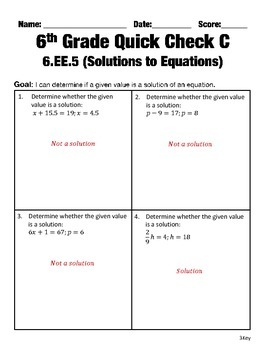 6th Grade Math Common Core Quick Check Mini Assessments (6.EE.5 - 6.EE.9)