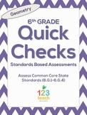 6th Grade Math Common Core Quick Check Mini Assessments (6.G.1 - 6.G.4)