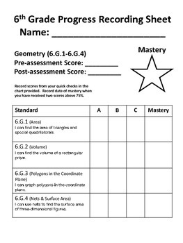 6th Grade Math Common Core Quick Check Mini Assessments (6.G.1 - 6.G.4)