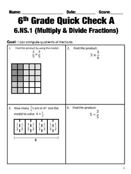 6th Grade Math Common Core Quick Check Mini Assessments (6.NS.1 - 6.NS.4)