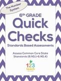 6th Grade Math Common Core Quick Check Mini Assessments (6.NS.1 - 6.NS.4)