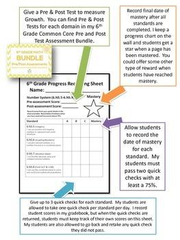 6th Grade Math Common Core Quick Check Mini Assessments (6.NS.5 - 6.NS.8)