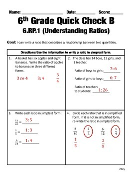 6th Grade Math Common Core Quick Check Mini Assessments (6.RP.1-6.RP.3)