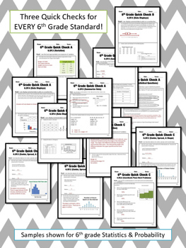 6th Grade Math Common Core Quick Check Mini Assessments BUNDLE!