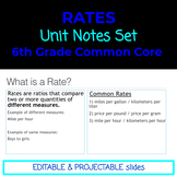 6th Grade Common Core Rates Notes Set