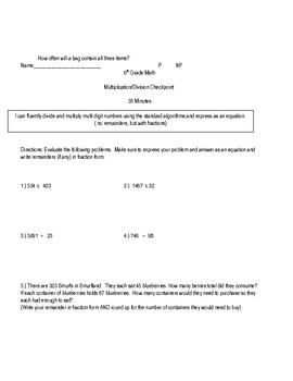 6th Grade Common Core Rational Numbers Checkpoint Math Bundle