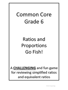 6th Grade Common Core Ratios and Proportions Go Fish