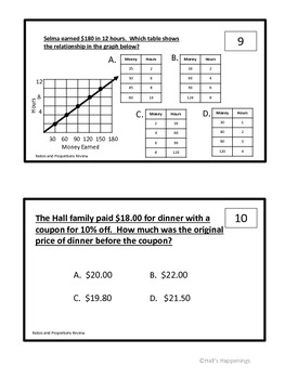 6th Grade Common Core Ratios and Proportions Unit Review Task Cards