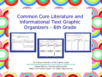 6th Grade Common Core Reading Graphic Organizers