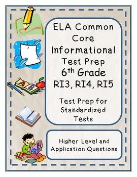 6th Grade Common Core Reading/ELA Test Prep RI3, RI4 and RI5