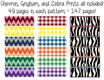 6th Gr. Common Core Tracking Sheets Math & ELA Bundle-Chevron, Gingham, & Zebra