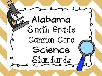 6th Grade Common Core Science Standard Posters