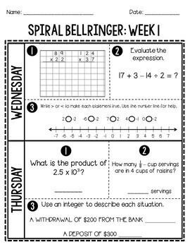 6th Grade Daily Spiral Bellringer Review Quarter 1