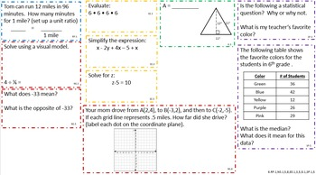 6th CCSS Math Concept Boards (Wk 1-4)