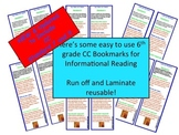 6th Grade Common Core Standards Bookmarks Informational Text