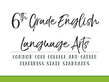 6th Grade Common Core Standards Cards
