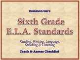 6th Grade Common Core Standards - ELA Assessment Checklist