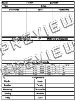6th Grade Common Core Standards ELA Reading Lesson Plan Template (Includes 2)