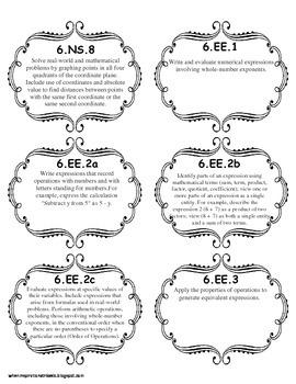 6th Grade Common Core Standards File Add-Ons