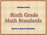 6th Grade Common Core Standards - MATH Assessment Checklist