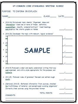 6th Grade Common Core Standards Writing Rubrics