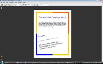6th Grade Common Core Standards for Classroom Posting